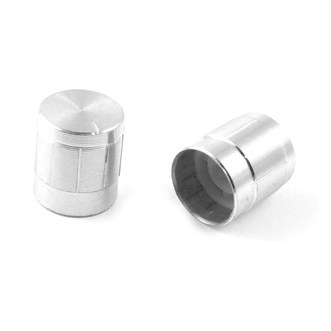 14mm x 16mm Aluminum Silver Tone Potentiometer Knobs 5 Pcs