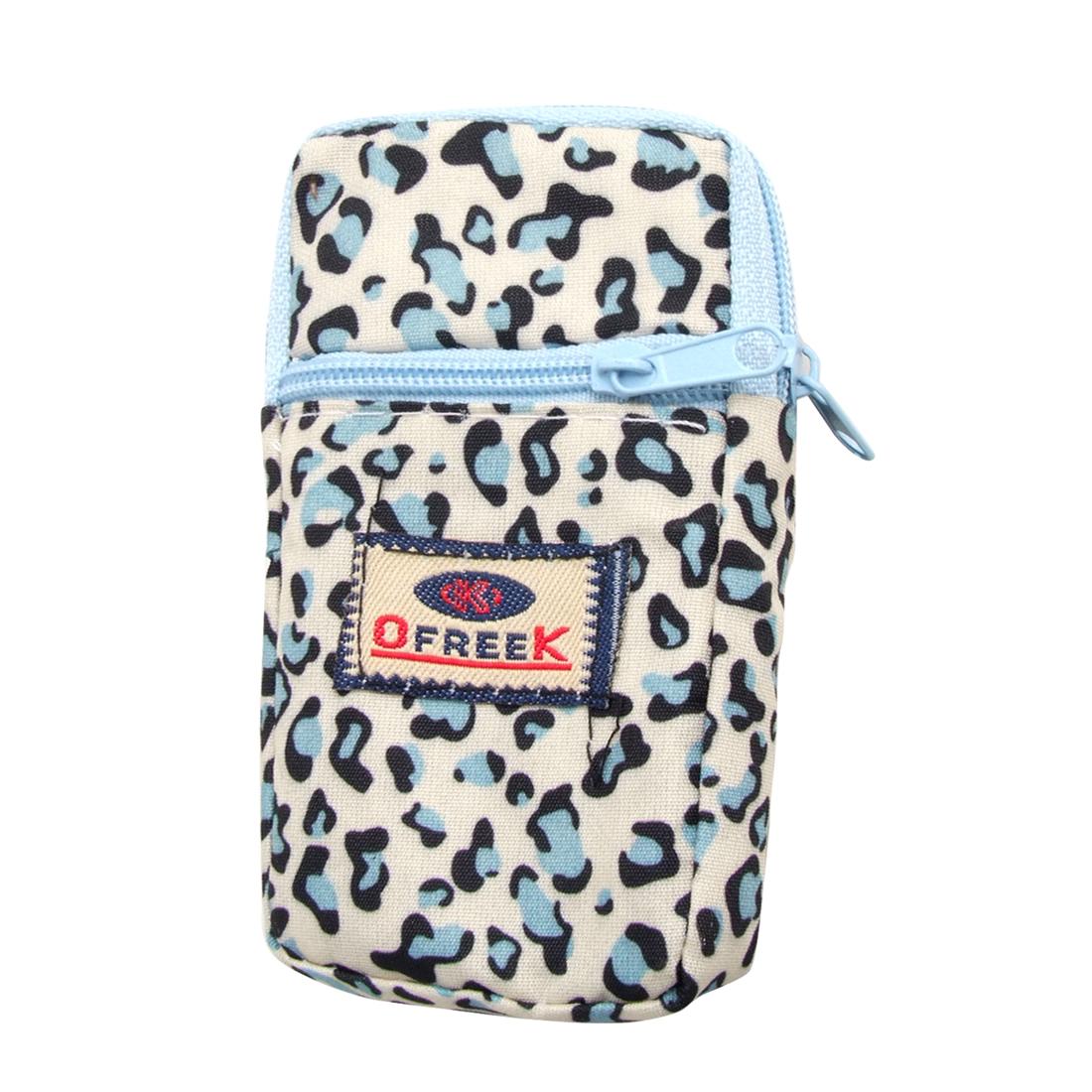 Sky Blue Black Leopard Pattern Elastic Band Zip Closure Cellphone Wrist Bag