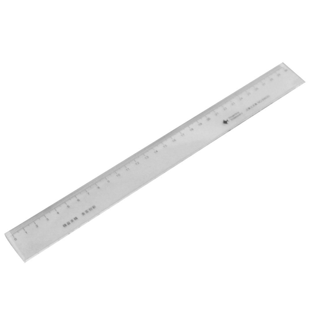 Students Metric 30cm Measurement Black Scale Plastic Straight Ruler 2 Pcs