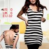 Ladies Black White Stripes Backless U Neck Sleeveless Tank Top XS