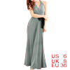 Woman Light Gray Deep V Neck Sleeveless Halter Jumpsuit S
