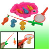 Children Plastic Fish Rod Colorful Goldfishes Magnetic Fishing Toy w Landing Net