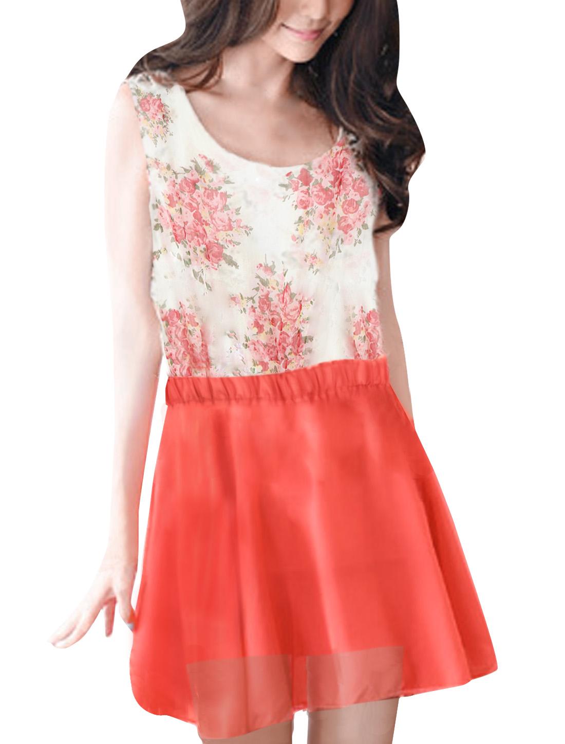 Flower Print Scoop Neck Sleeveless Elastic Waist Chiffon Dress XS for Women