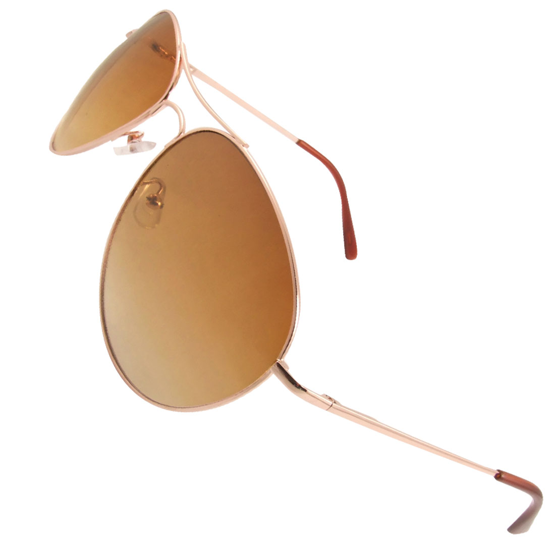 Men Copper Tone Metal Full Rim Teardrop Lens Dual Bridge Sunglasses