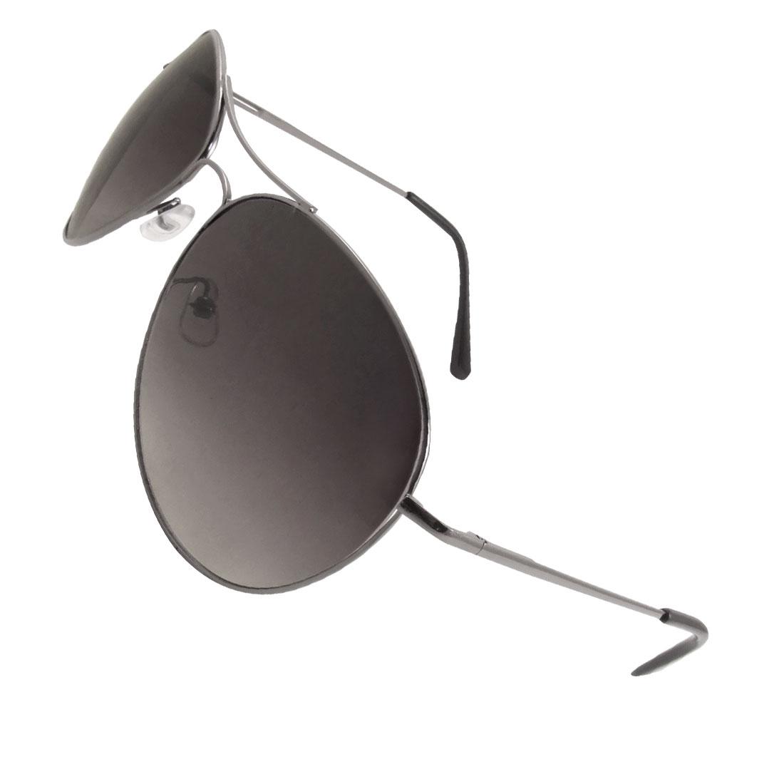 Men Gray Teardrop Lens Metal Full Frame Slim Arms Sunglasses