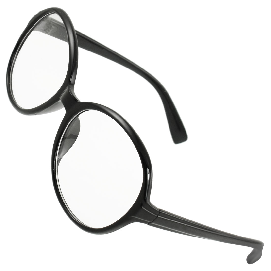 Woman Black Plastic Full Frame Raindrop Shaped Clear Lens Plain Glasses