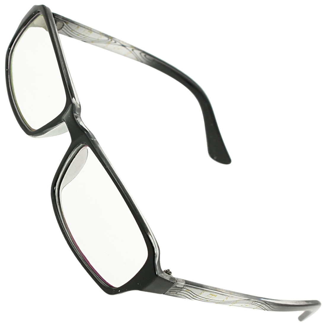 Women Black Clear Plastic Arms Full Rim Multi Coated Lens Plain Glasses