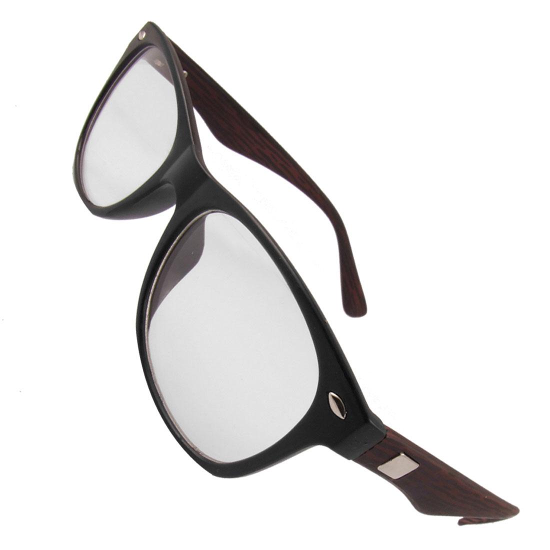 Women Black Plastic Full Frame Wood Grain Arms Oval Clear Lens Glasses