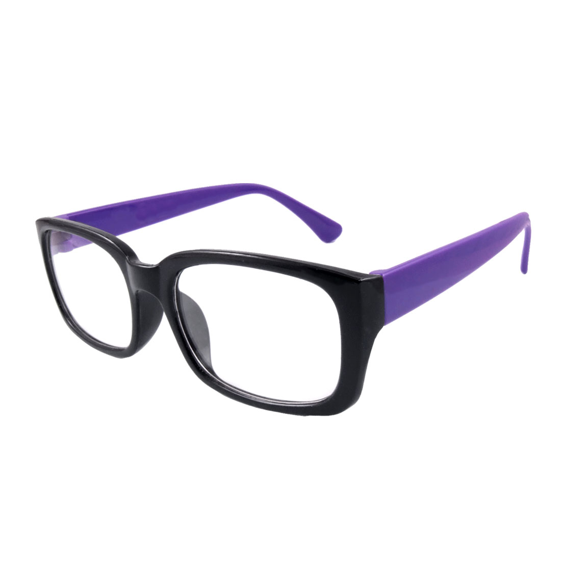 Women Rectangular Clear Lens Black Full Frame Purple Arms Plain Glasses