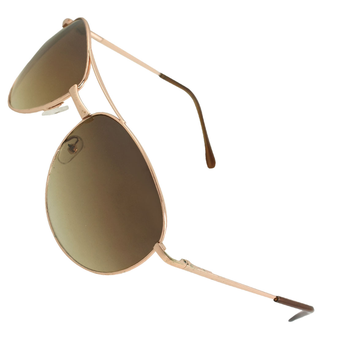 Men Copper Tone Metal Full Rim Colored Teardrop Style Lens Sunglasses