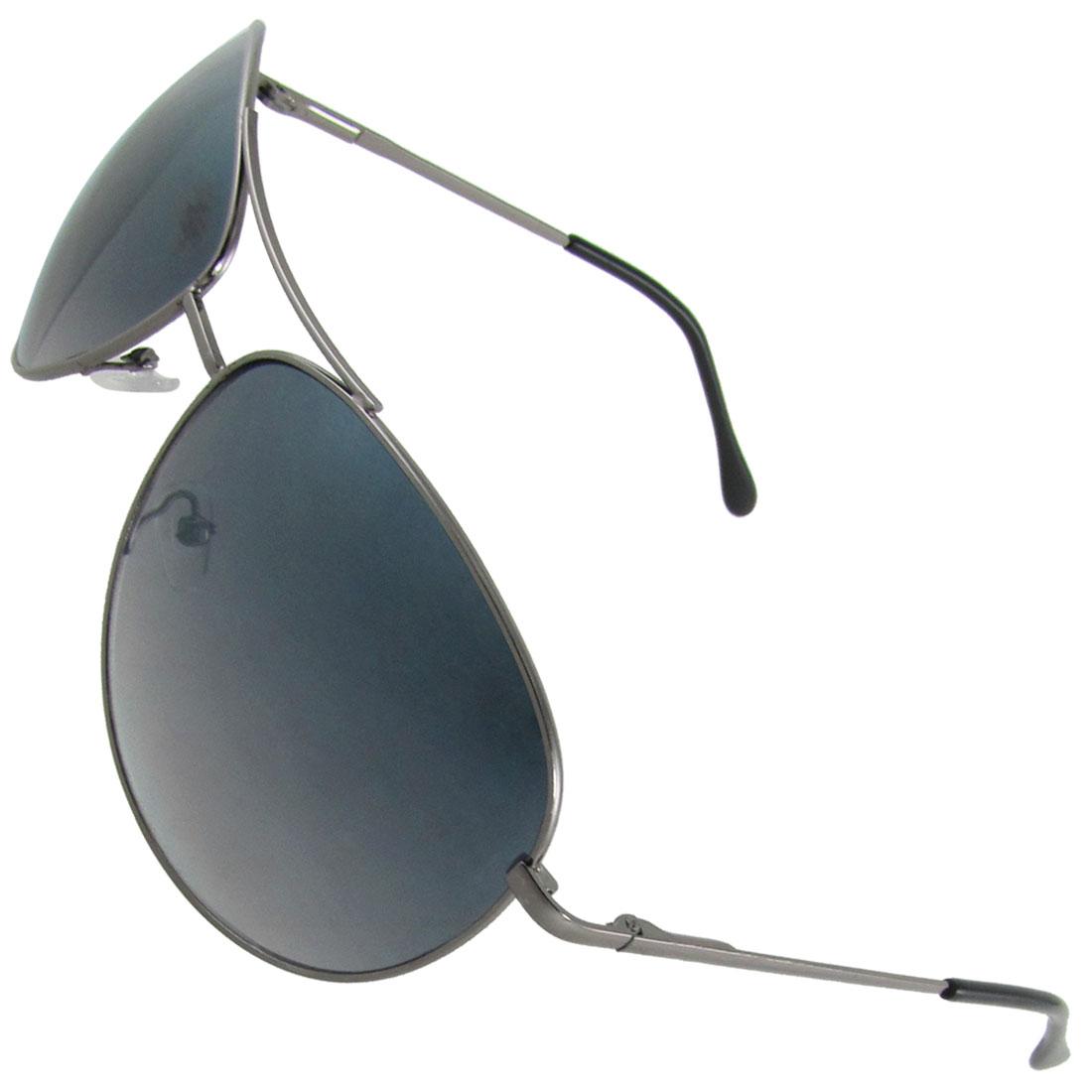 Sliver Tone Metal Full Rim Teardrop Lens Dual Bridge Sunglasses For Men