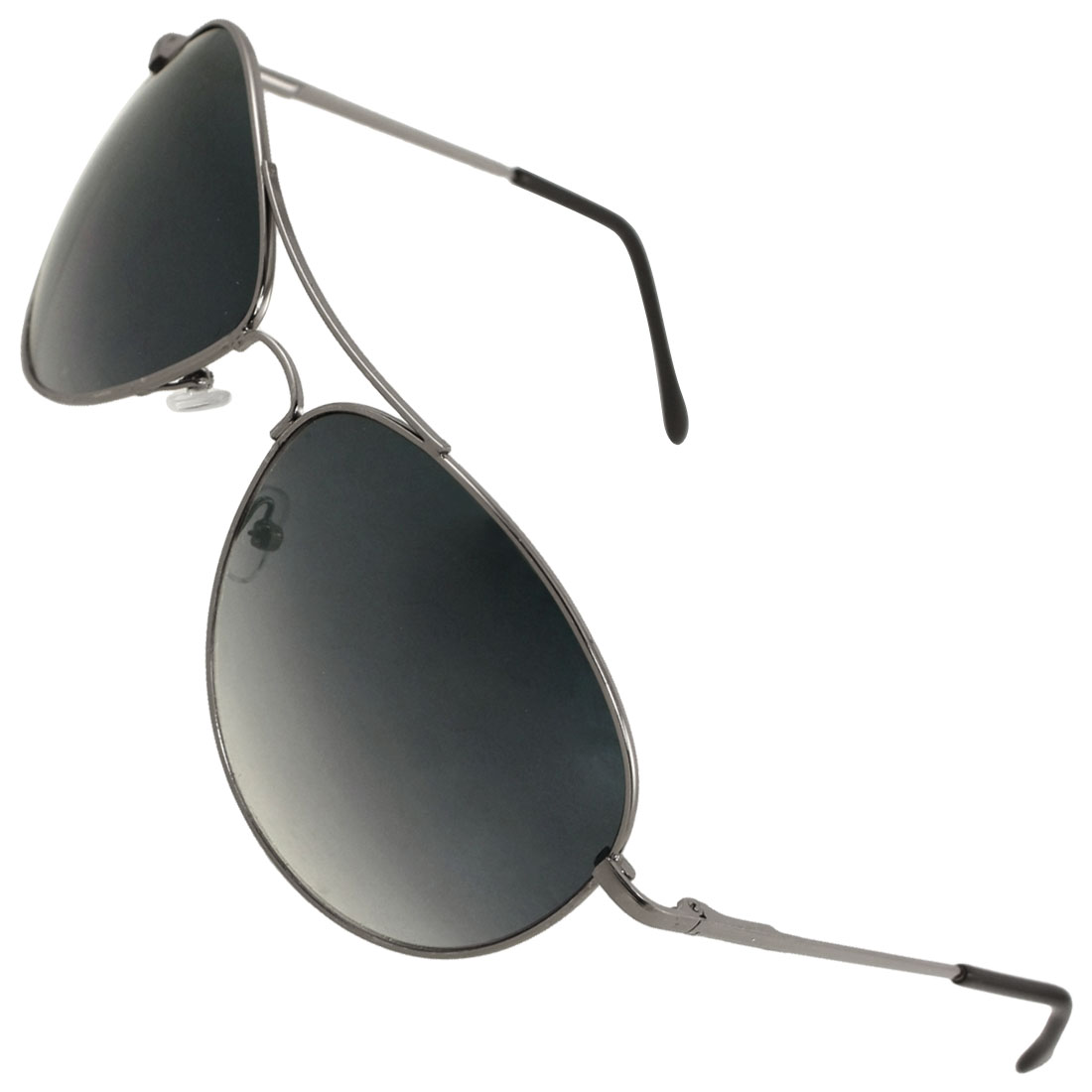 Men Gray Metal Slim Full Rim Raindrop Style Gradient Lens Sunglasses