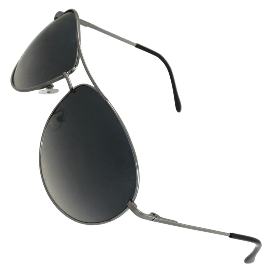 Silver Tone Metal Full Rim Double Bridge Tinted Lens Sunglasses for Men