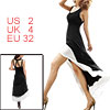 Women Black White Deep U Neck Sleeveless Bare Back Coattails Dress XS
