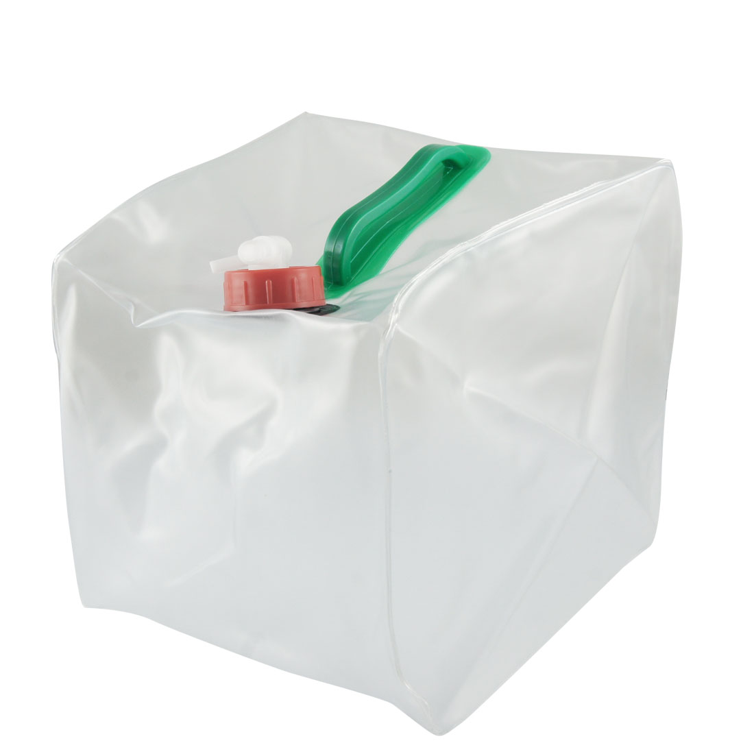 8L Clear Plastic Cube Shaped Foldable Bucket w Water Tap