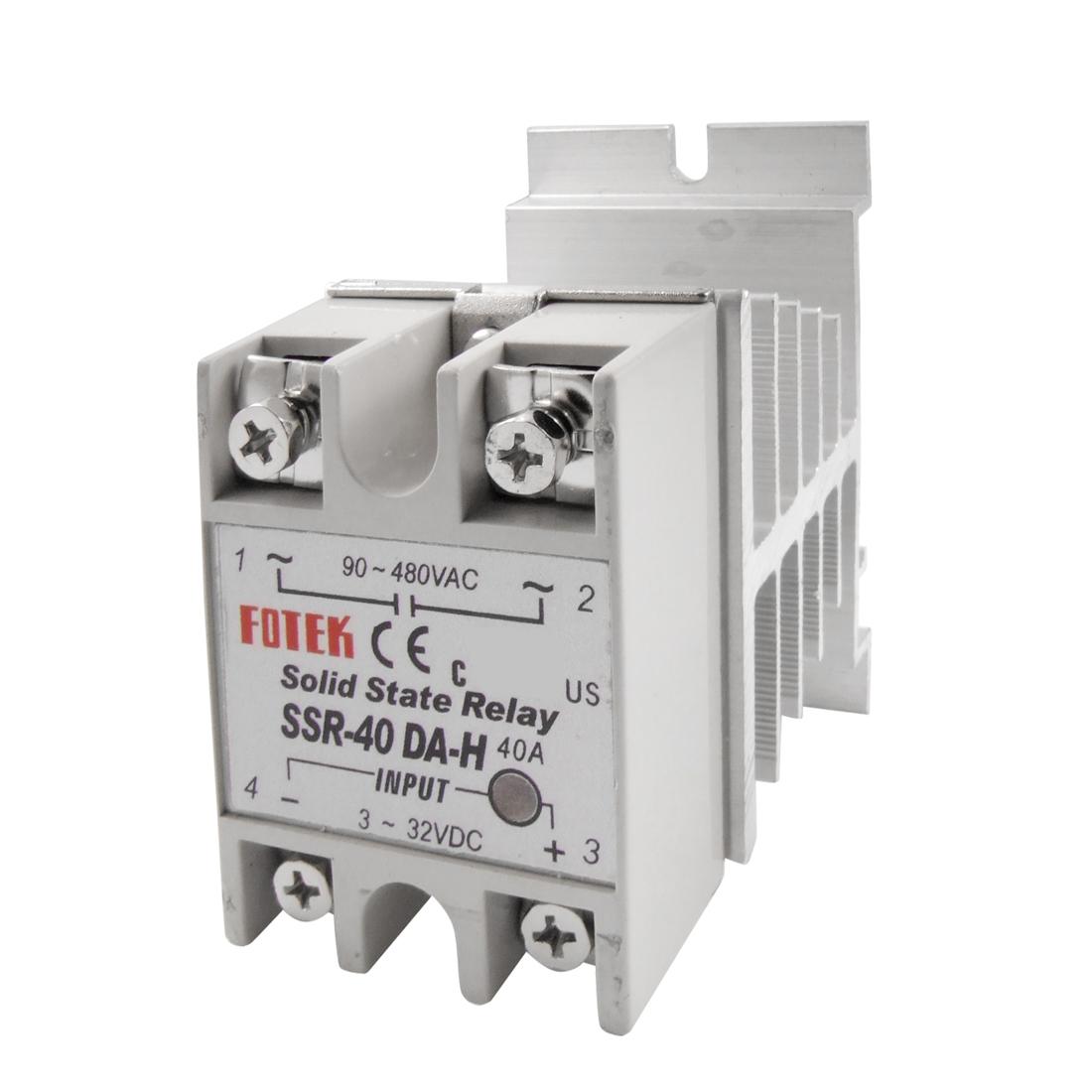 Temprature Control Solid State Relay SSR 40A 3-32V DC 90-480V AC w Heat Sink