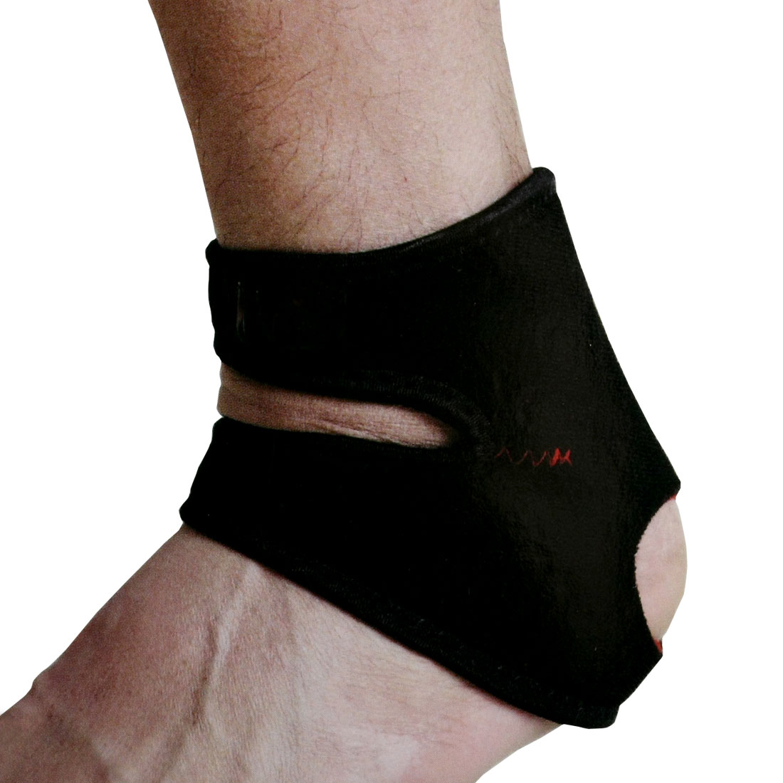 Dual Hoop Loop Closure Design Black Red Stretchy Left Ankle Foot Protector Support