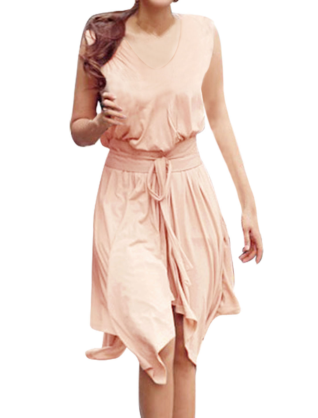 Women Pale Pink Deep V Neck Sleeveless Asymmetric Hem Knee Length Dress S