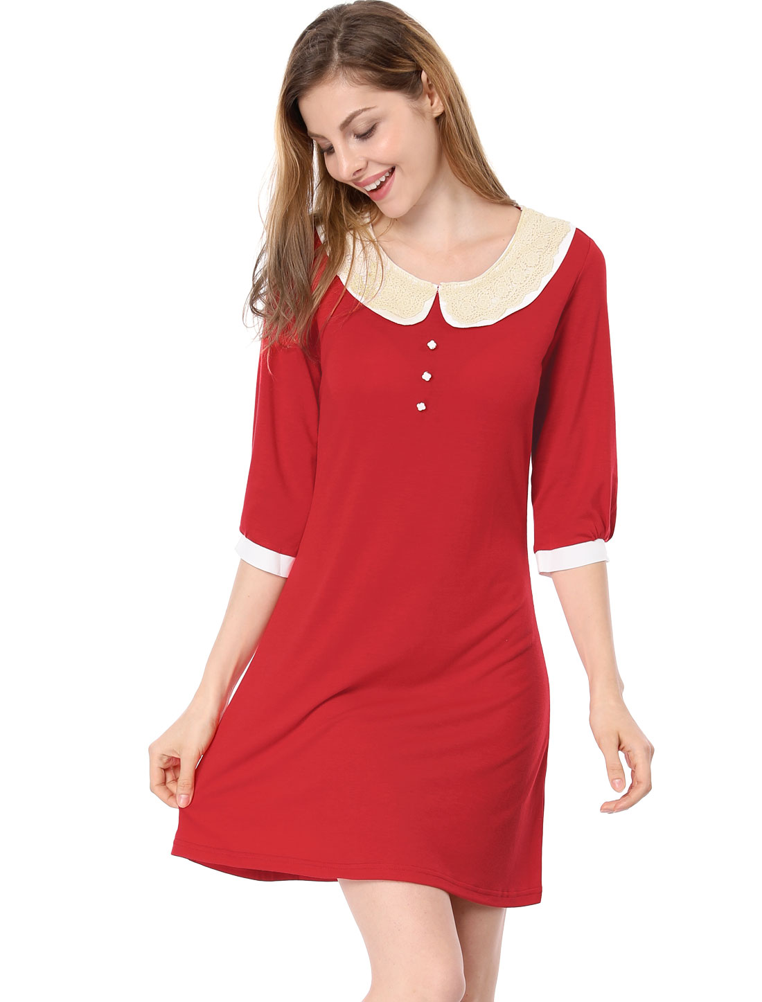 White Collar Red 3/4 Sleeves Stretchy Above Knee Dress XS for Lady