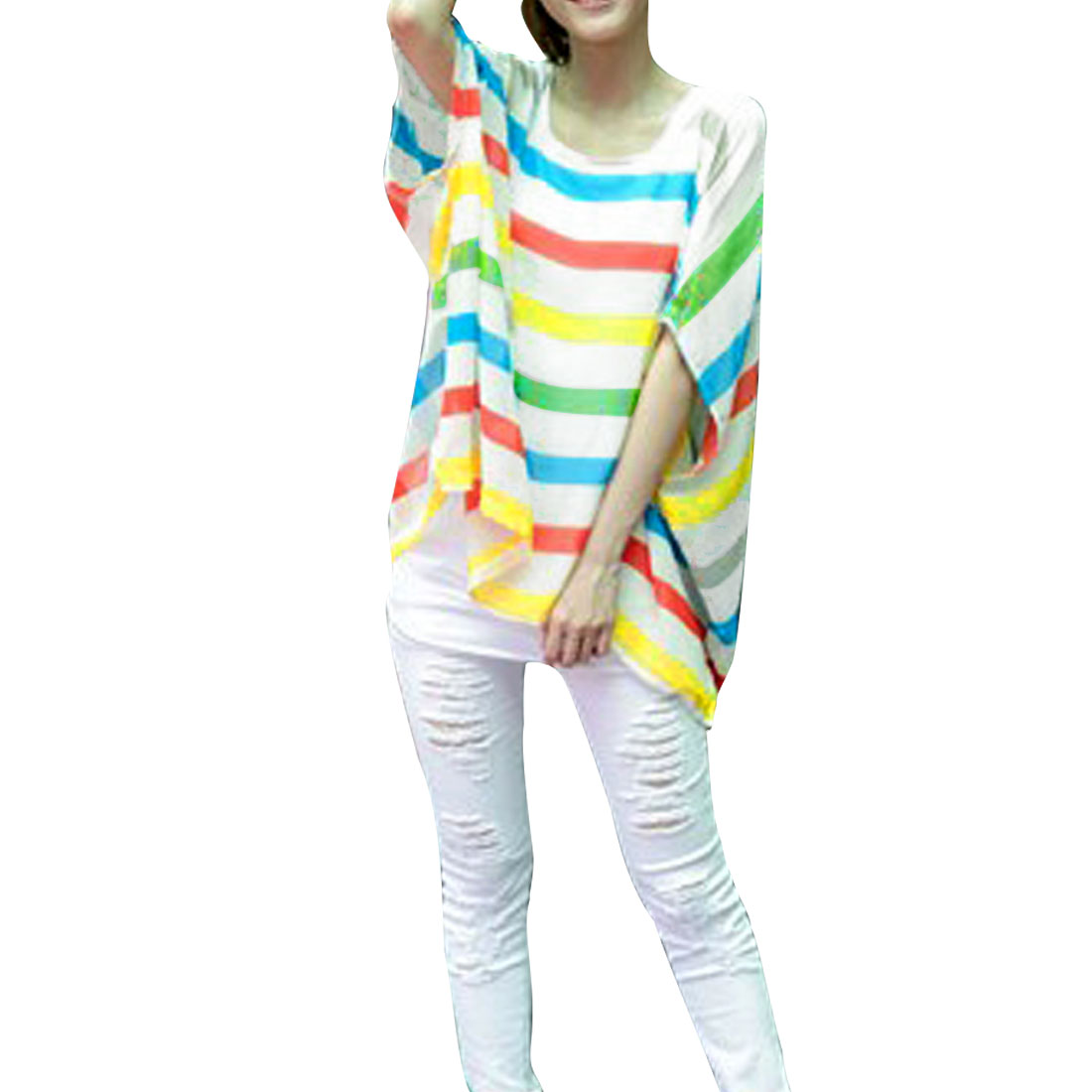 Women Scoop Neck Colorful Bar Striped Half Bat Sleeve Shirt S