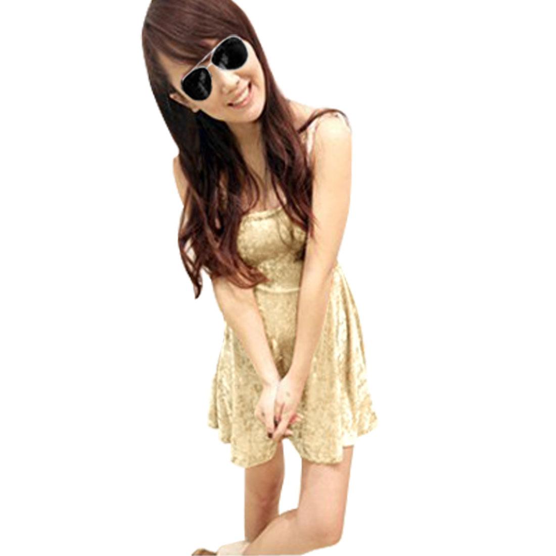 Scoop Neck Sleeveless Beige Velvet Soft Mini Dress XS for Women