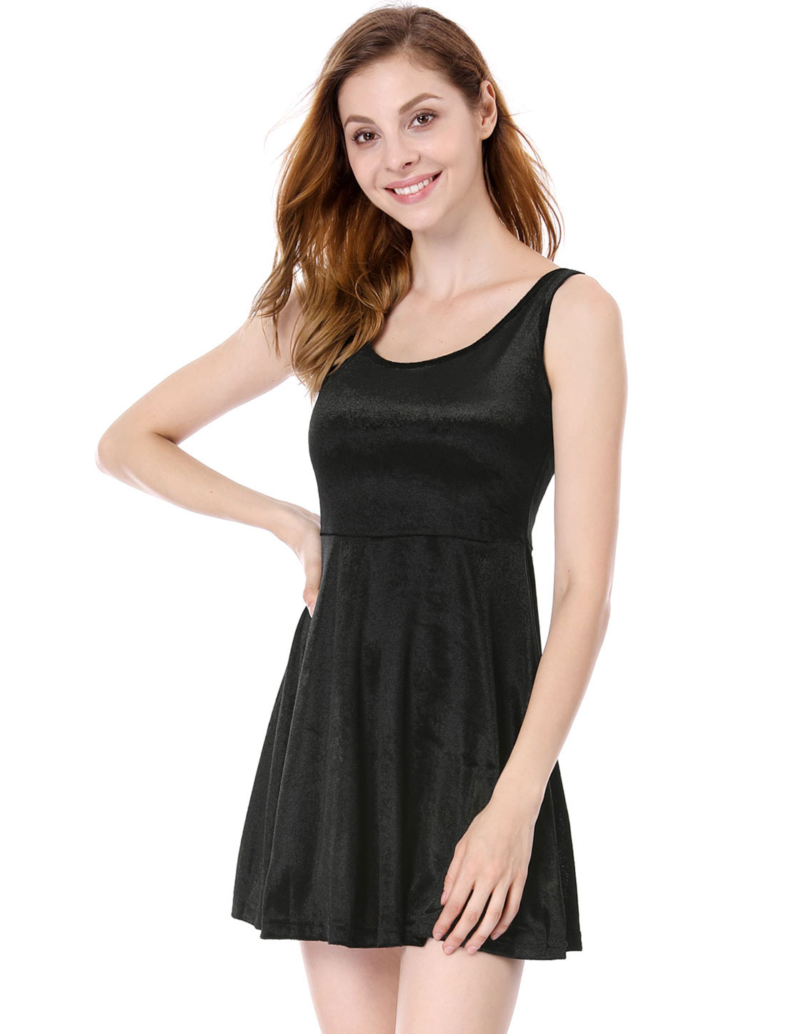 Women Black Soft Sleeveless Velvet Stretchy Mini Tank Dress XS