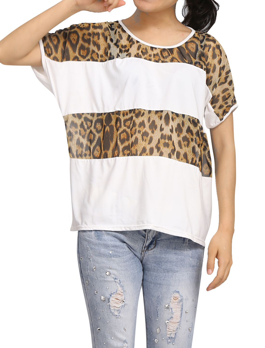 Women Leopard Print Chiffon Decor Short Bat Sleeve White Shirt S