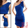 Blue Ruffled Single Shoulder Sleeveless Dress XS for Women