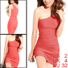Watermelon Red Ruffled One Shoulder Clubwear Mini Dress XS for Women