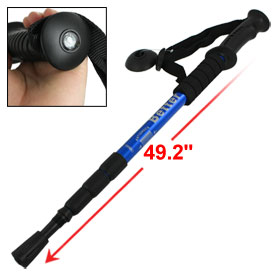 Anti-shock 4-Section Telescopic Trekking Pole Walking Stick Blue Black