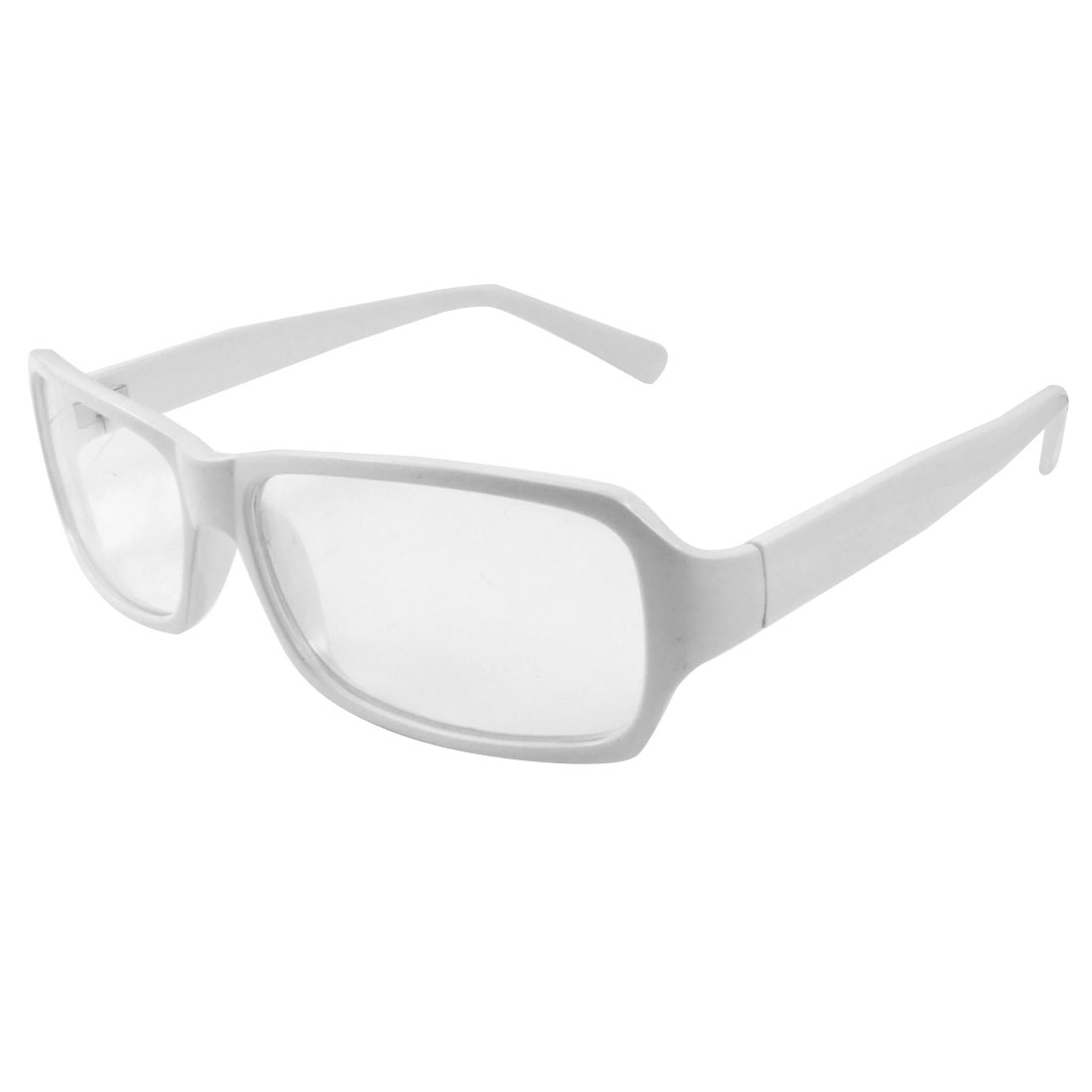 Women Men White Full Frame Rectangular Lens Plain Glasses
