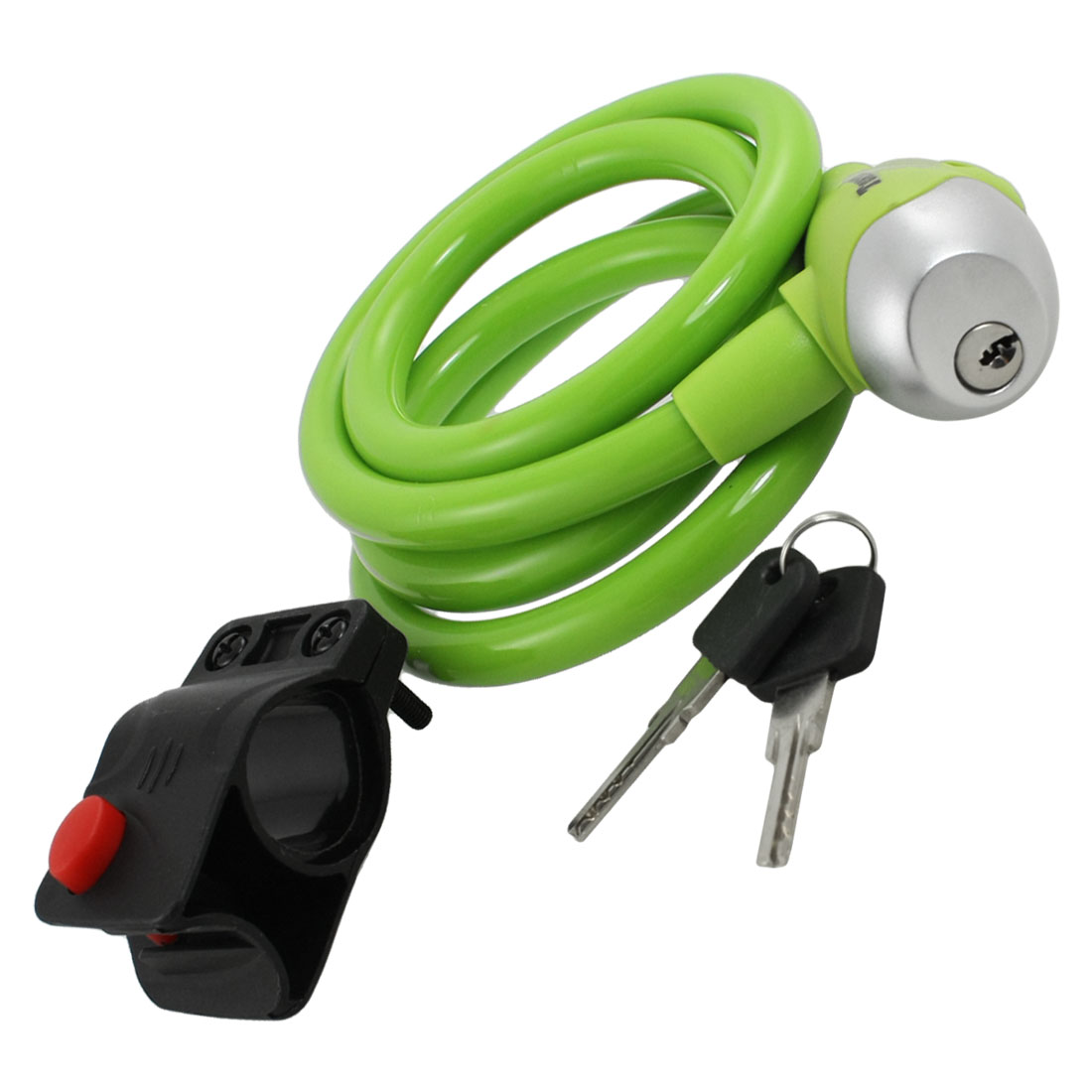 Motorcycle Bicycle Green Plastic Covered Steel Cable Lock w 2 Keys