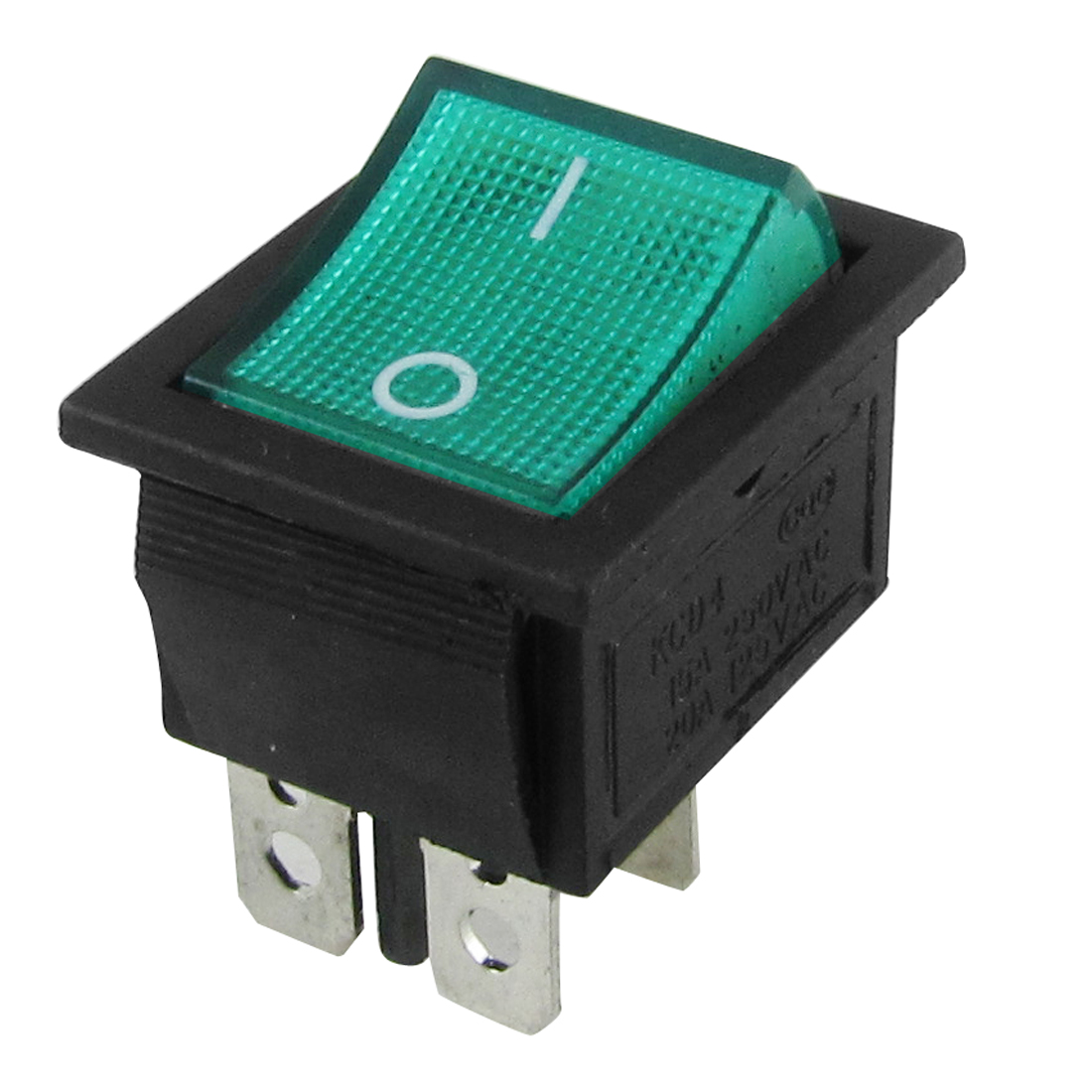 Green Light 4 Pin DPST On-Off Snap In Boat Rocker Switch 15A/250V 20A/125V AC
