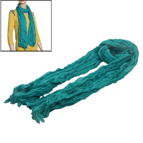Women Long Pleated Scarf Soft Voile Shawl Wrap Teal Green