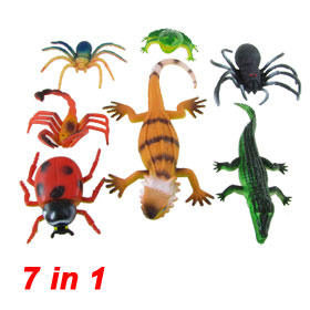 Simulated Wild Animals Insect 7 in 1 Plastic Spider Ladybug Crocodile Frog Toy