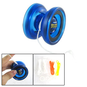 Royal Blue Plastic Housing Ball Bearing Yo Yo Ball Toy + 4 Strings