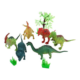 Children Artificial Plastic Tree Rockery Grass Assorted Dinosaur Mold Set
