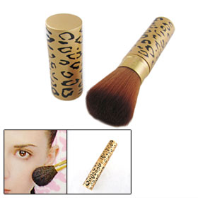 Leopard Pattern Gold Tone Shell Retractable Makeup Powder Blusher Brush Tool