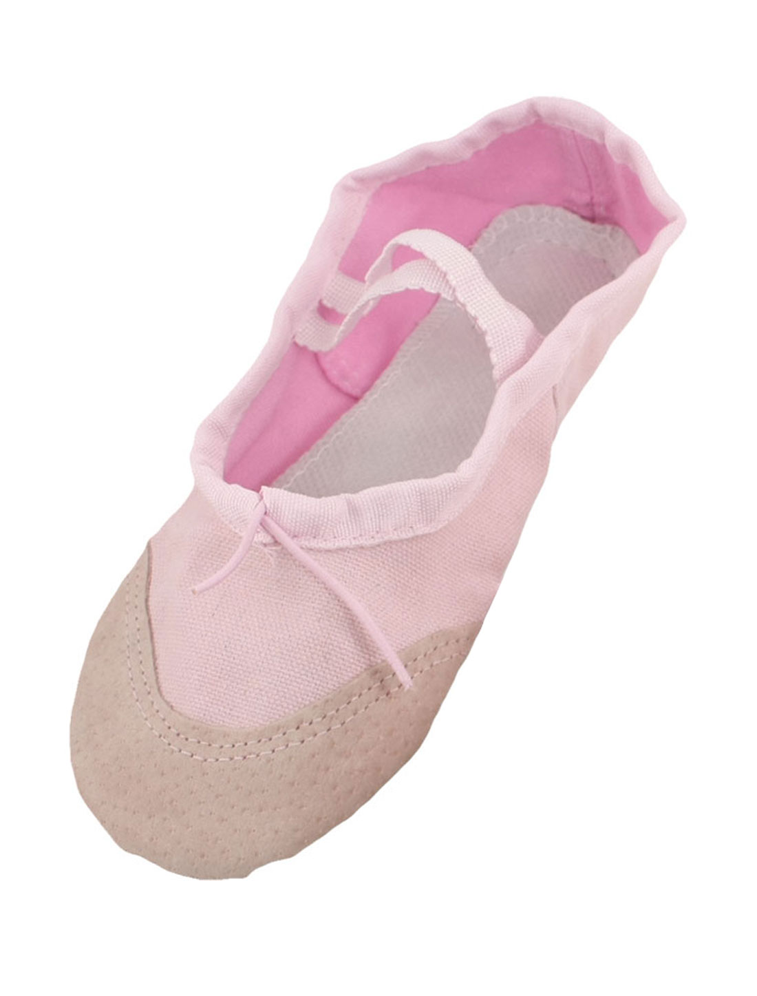Girls Pink Elastic Band Canvas Ballet Dancing Flats Shoes EU 33