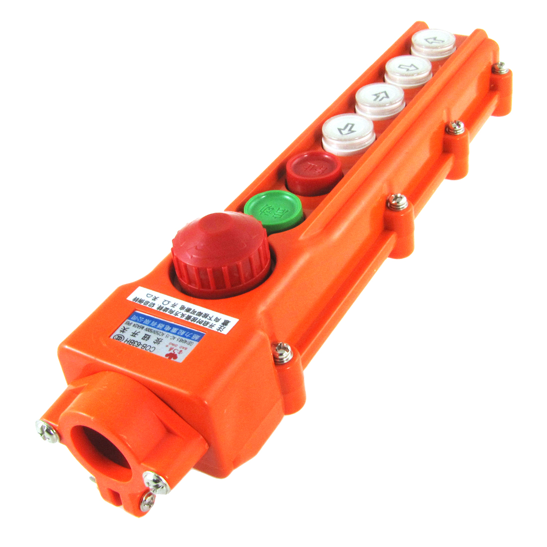 Rainproof Hoist Crane Control Station 4 Way Pushbutton Switch w Emergency Stop