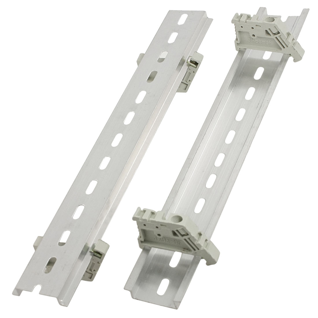 "Industrial Plastic End Stoppers + 9.8"" 250mm Slotted Aluminum DIN Rail 5 Sets"
