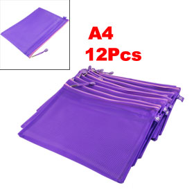 12 Pcs Two Compartments A4 Paper Pen Holder Zippered PVC File Folder Bags Purple