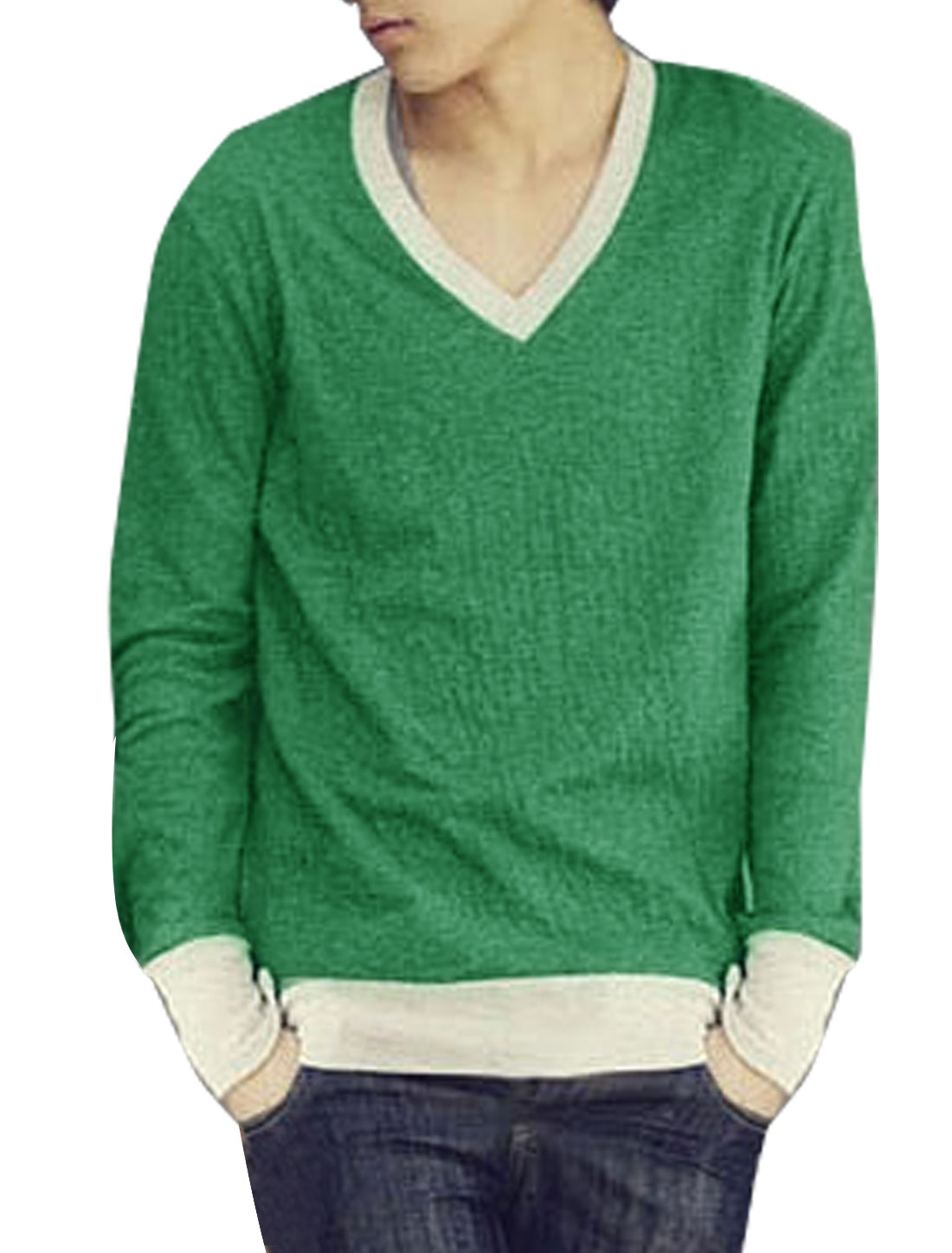 Mens Fashion Casual Long Sleeve V-Neck Slim Fit Tee T-Shirt Green XS