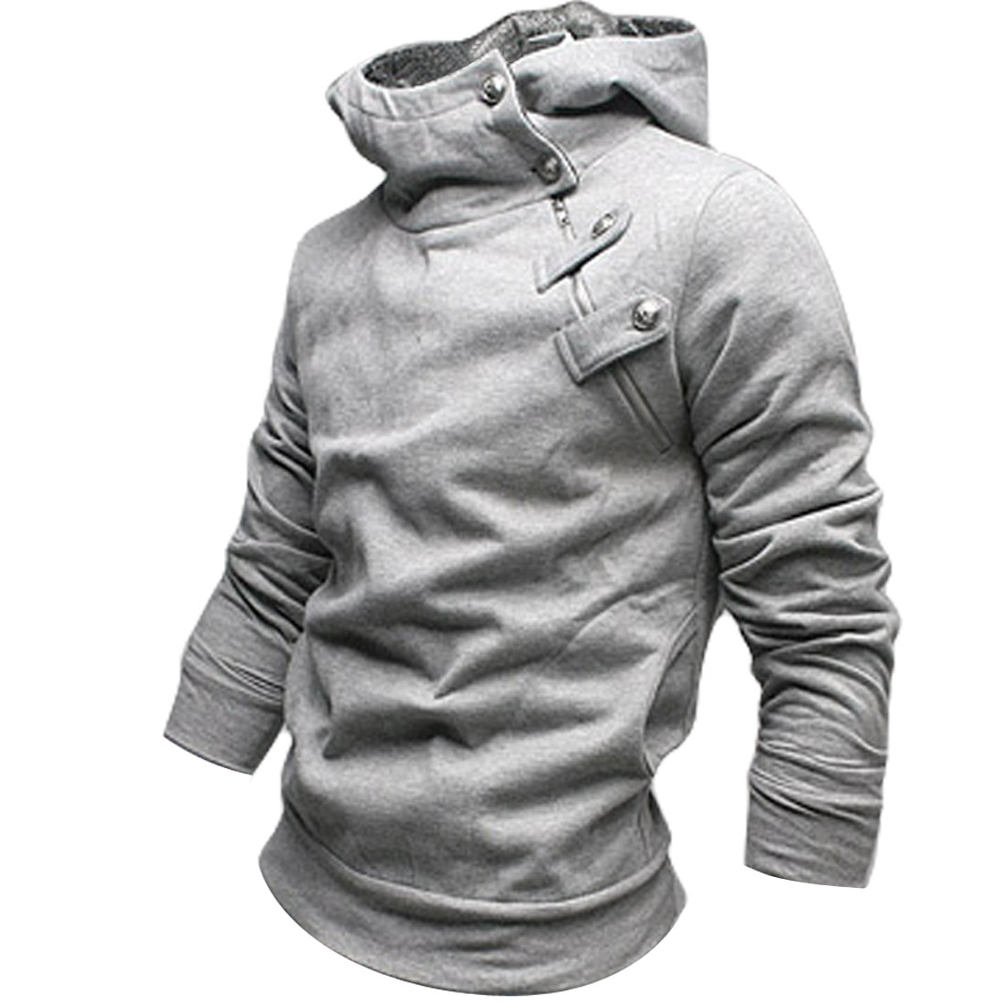 Stylish Korea Mens Top Designed Hoodie Jacket Coat Sweatshirt Gray S