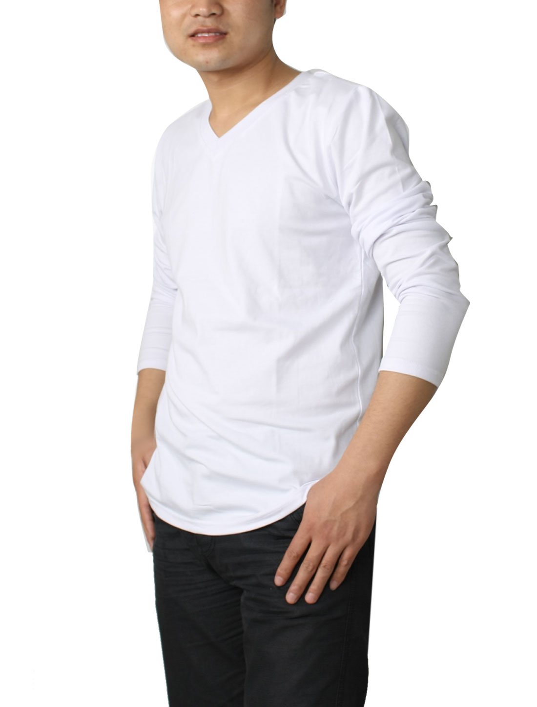 Mens Slim Fit Classical V-Neck Long Sleeve Basic T-shirt White S