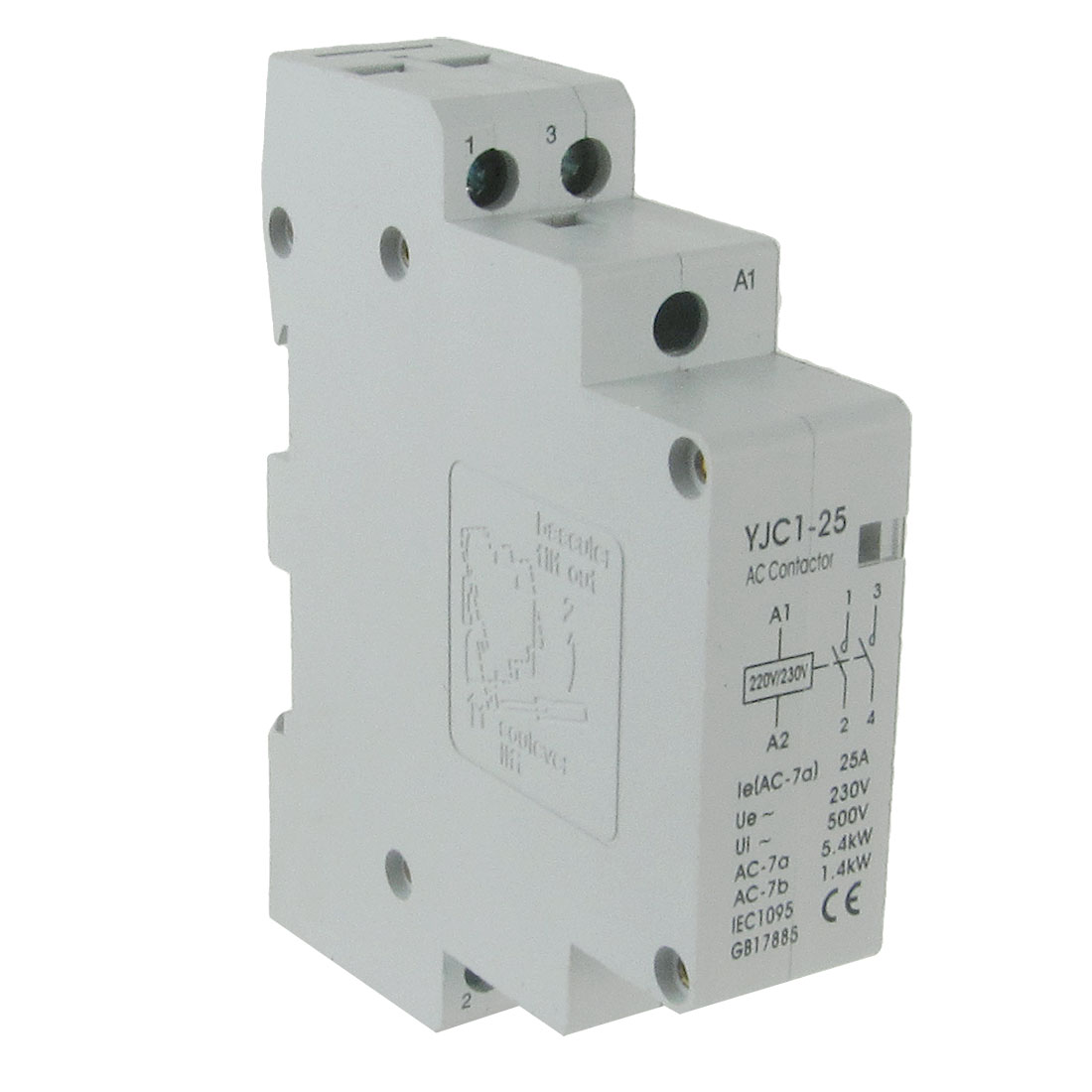 220V Coil 25A Double Poles 2P Household AC Contactor YJC1-25