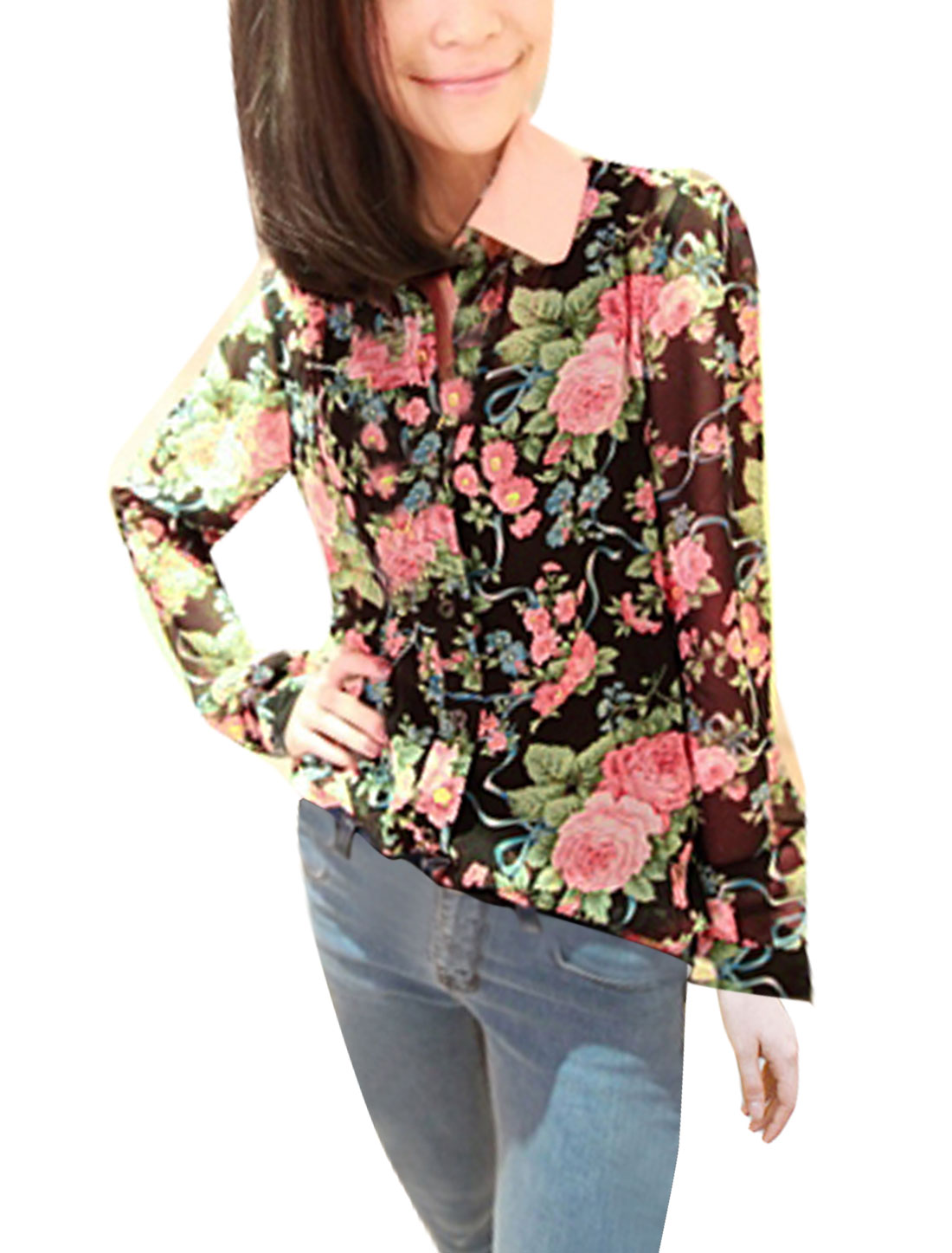Pink Point Collar Single Breast Flower Pattern Black Shirt S for Women S