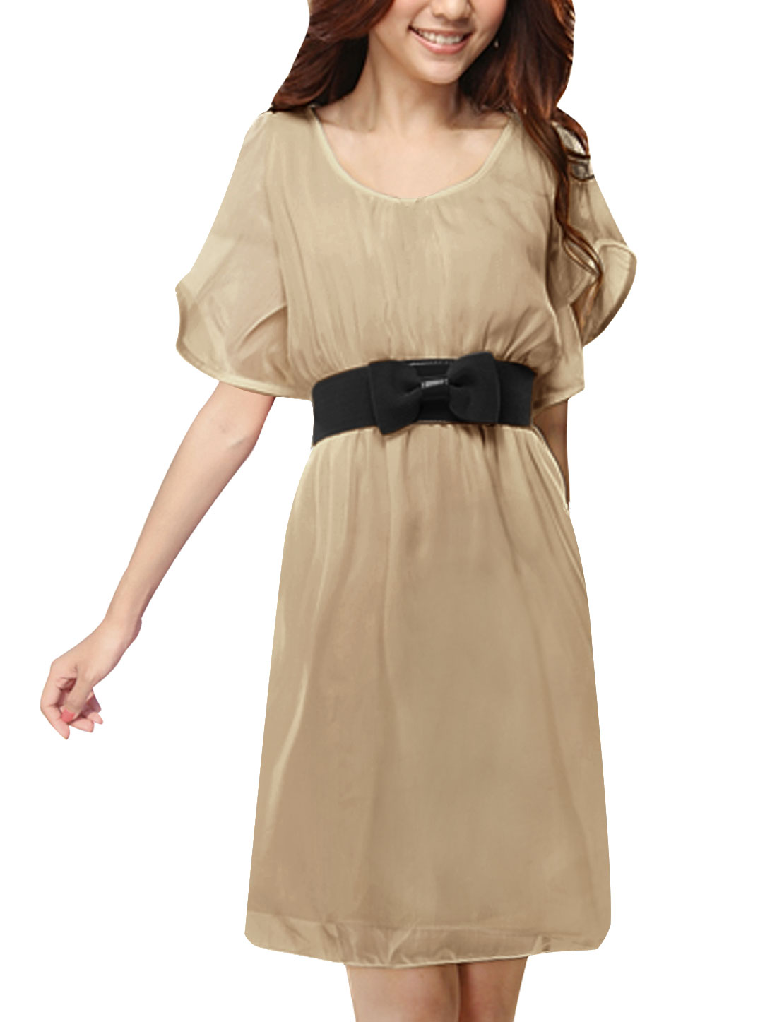 Women Scoop Neck Elastic Waist Above Knee Chiffon Dress w Belt Beige XS