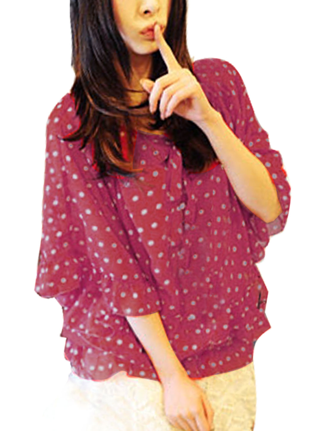 Dots Print Scoop Neck Half Bat Sleeve Red Chiffon Blouse XS for Women