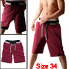 Mens Rope Drawstring Waist Casual Sport Short Pants Jogging Trousers Red W34